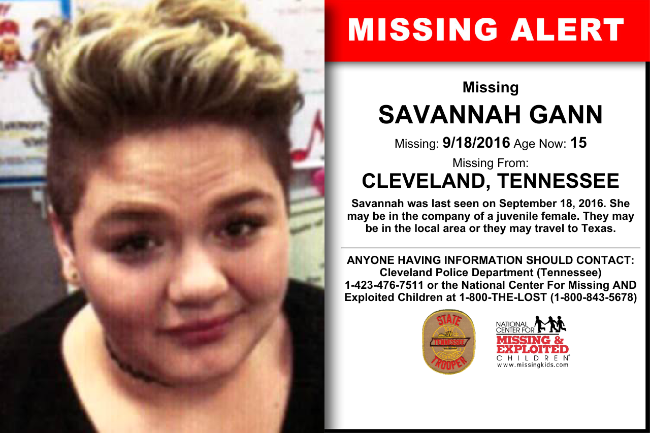 SAVANNAH GANN, Age Now: 15, Missing: 09/18/2016  Missing