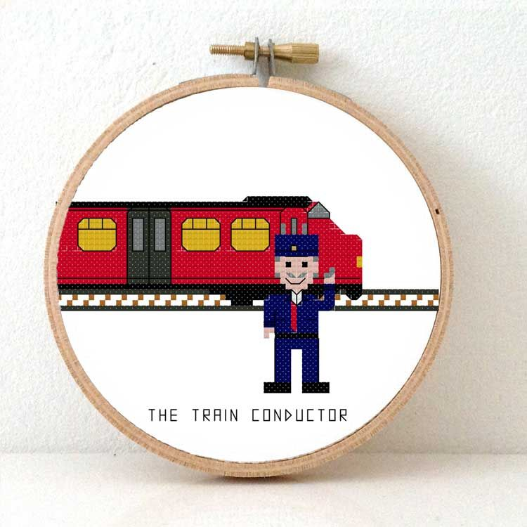 Train Conductor Cross Stitch 300 Different People Cross Stitch Gifts Cross Stitch Train Conductor Stitch Gift
