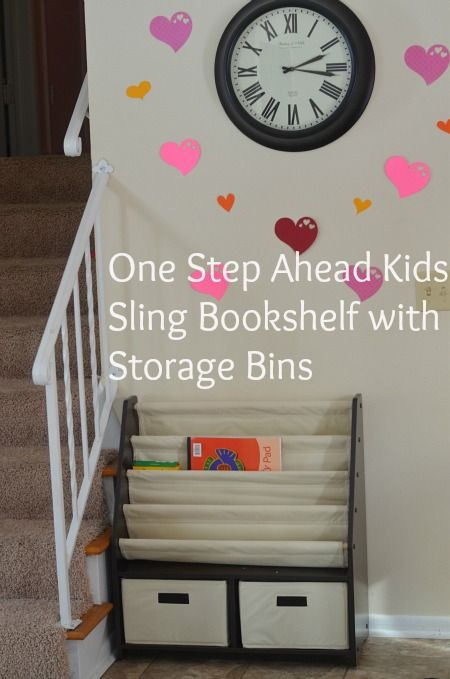 One Step Ahead Kids Sling Bookshelf With Storage Bins