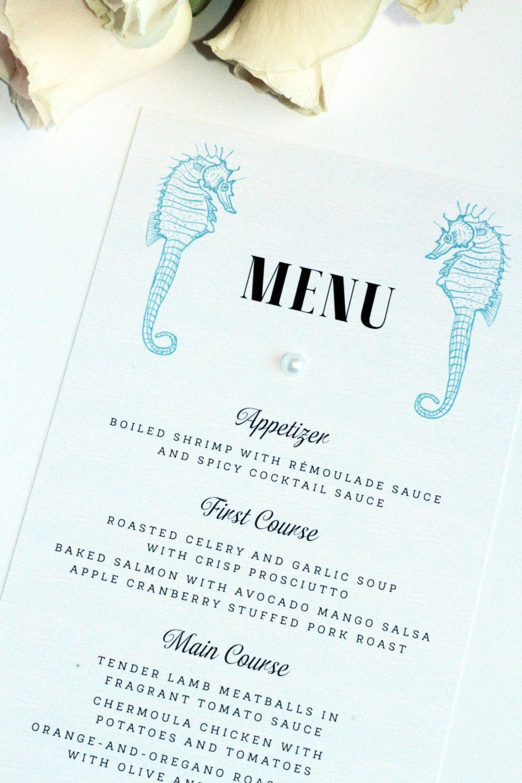 Beach Wedding Menu, Premium Cardboard, New by Paradise Invitations ...