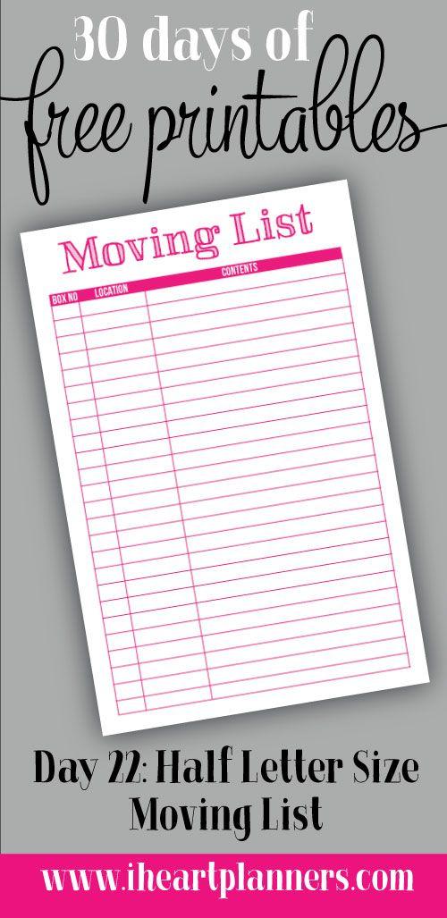 moving list printable