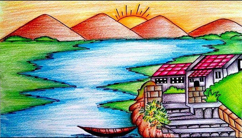 Gambar Pemandangan Alam Yang Indah Dan Mudah Dibuat Gambar Pemandangan Yang Mudah Harian Nusantara 90 Lukisan Dan Gambar Peman Gambar Simpel Pemandangan Seni