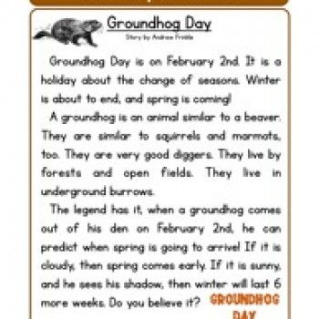 groundhog day reading comprehension worksheet reading worksheets  groundhog day reading comprehension worksheet
