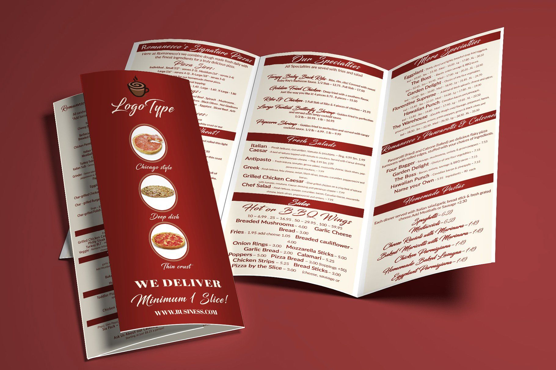Restaurant Menu Tri Fold Brochure