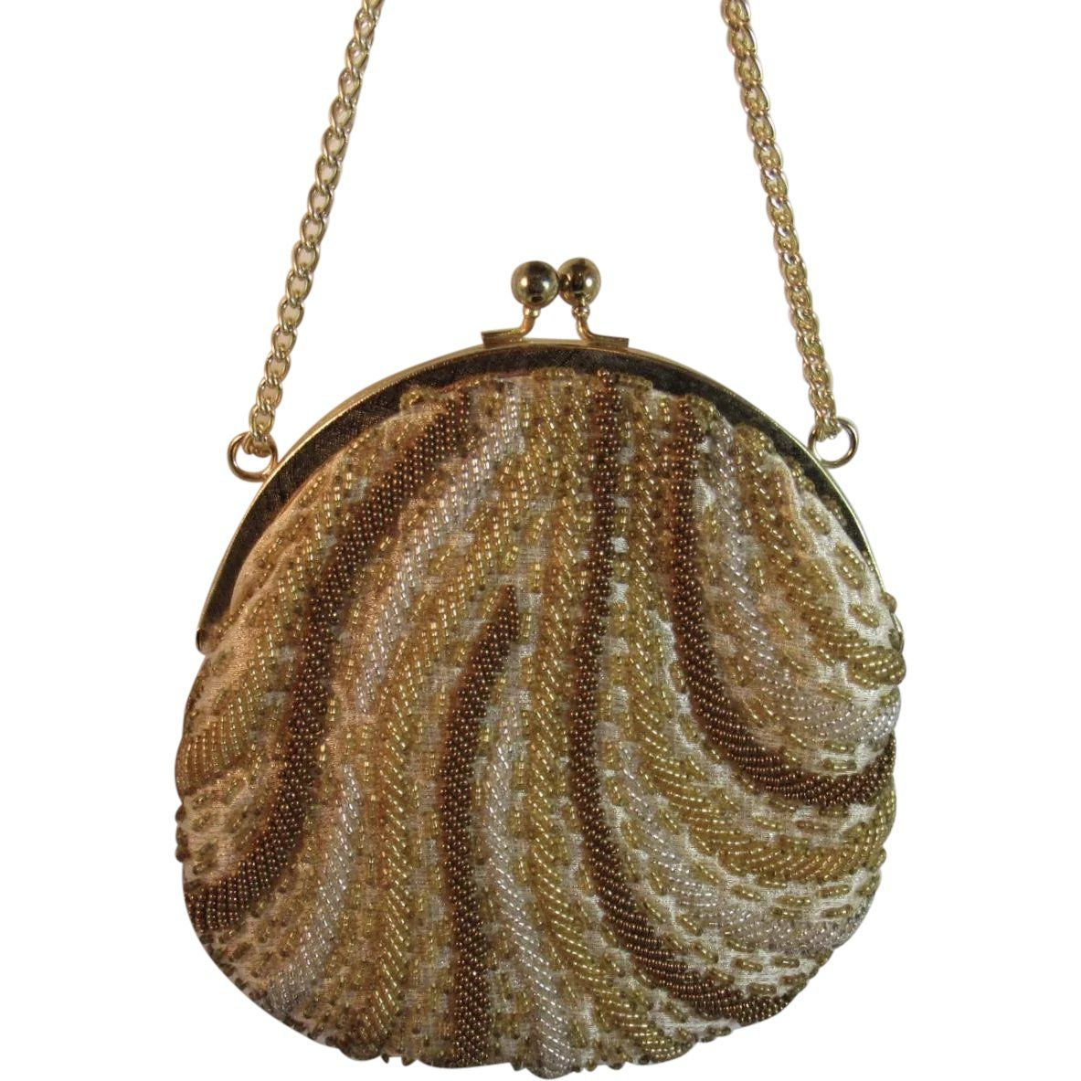 02de9cb2 La Regale Beaded Purse Evening Bag Vintage Hand Made Metal Frame with Chain  Strap Satin Lined