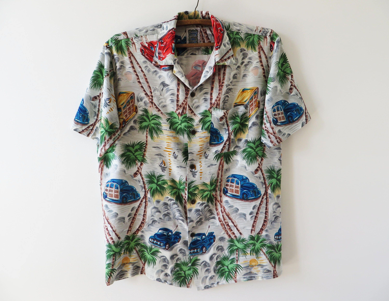 856be812124 Palm Trees Shirt Cars Print Shirt Men s Summer Shirt Beach Shirt Short  Sleeve Shirt Button up Shirt Hipster Chemise Button Down Shirt Medium by ...