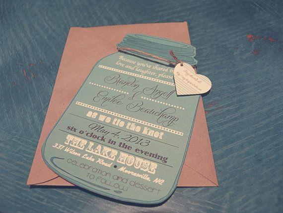 Template Mason Jar Invitationcustom invitationcustom colorrustic