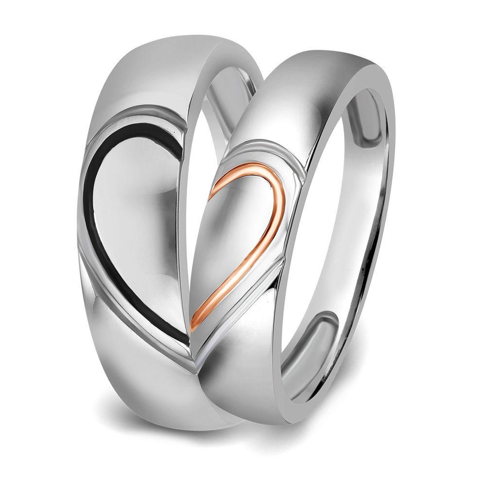 10k White Gold Real Love Heart Couples Promise Engagement Ring Wedding Band Ebay Wedding Ring Bands Thin Diamond Wedding Band Diamond Wedding Bands