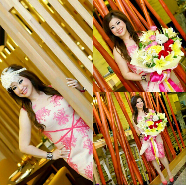 Pretty Mrs. Olivia Melia in Namayinda's #pink #lace #dress