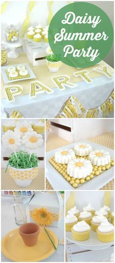 Such a pretty daisy party where the kids paint pots! See more party ideas at CatchMyParty.com!