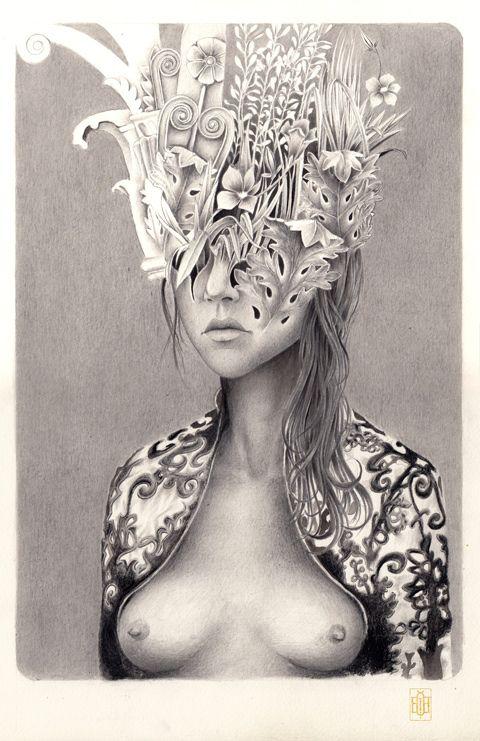 Iakovos Ouranos, Nymphe I, mixed media on paper, 2014 #art #drawing #pencil #ink #paper #iakovosouranos #iakovos #ouranos #nymph #mythology #woman #portrait #nature