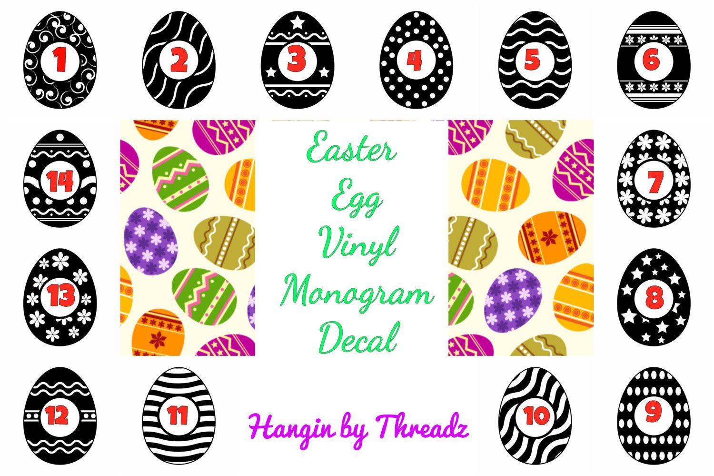 Easter egg vinyl monogram decal-vinyl decal-easter basket sticker-yeti cup decal-car decal-easter monogram-vinyl monogram-monogram sticker by HANGINBYTHREADZ on Etsy