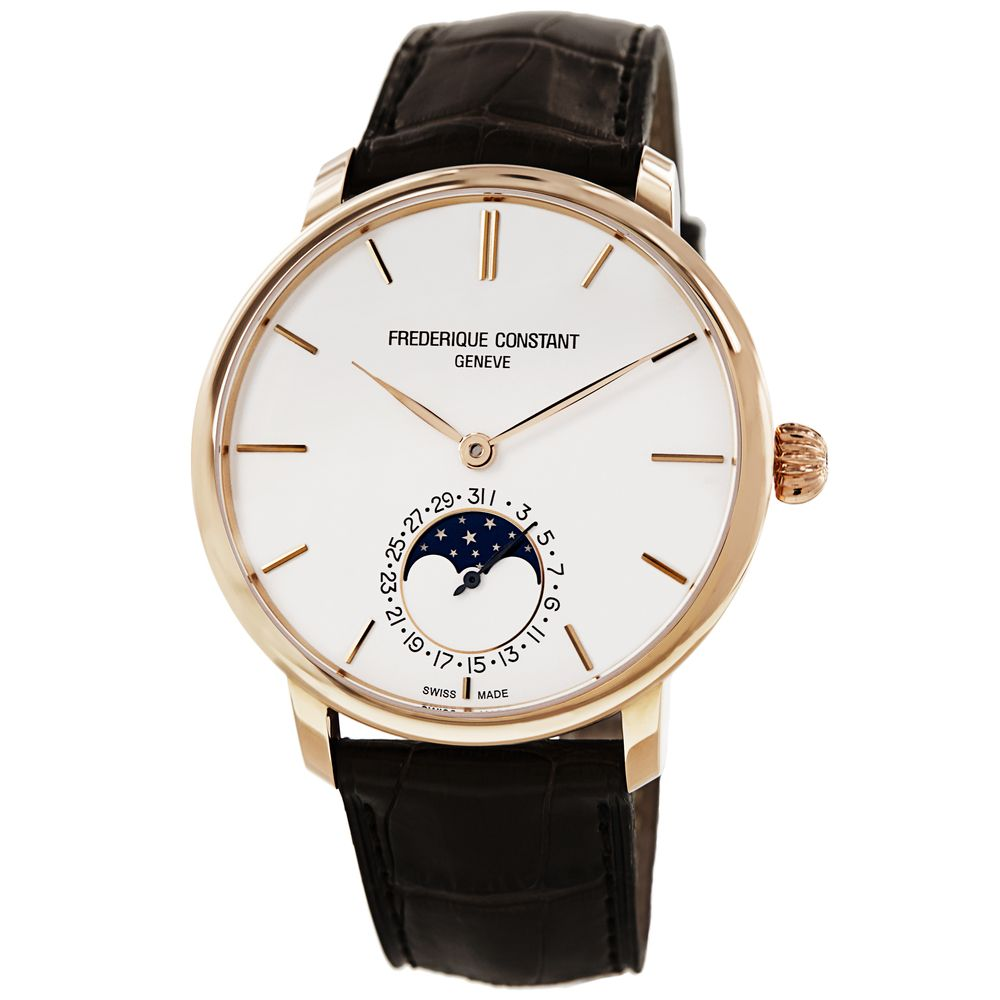 Frederique Constant Men's FC-705V4S9 'Slim Line' Silver Dial Brown Leather  Strap Automatic