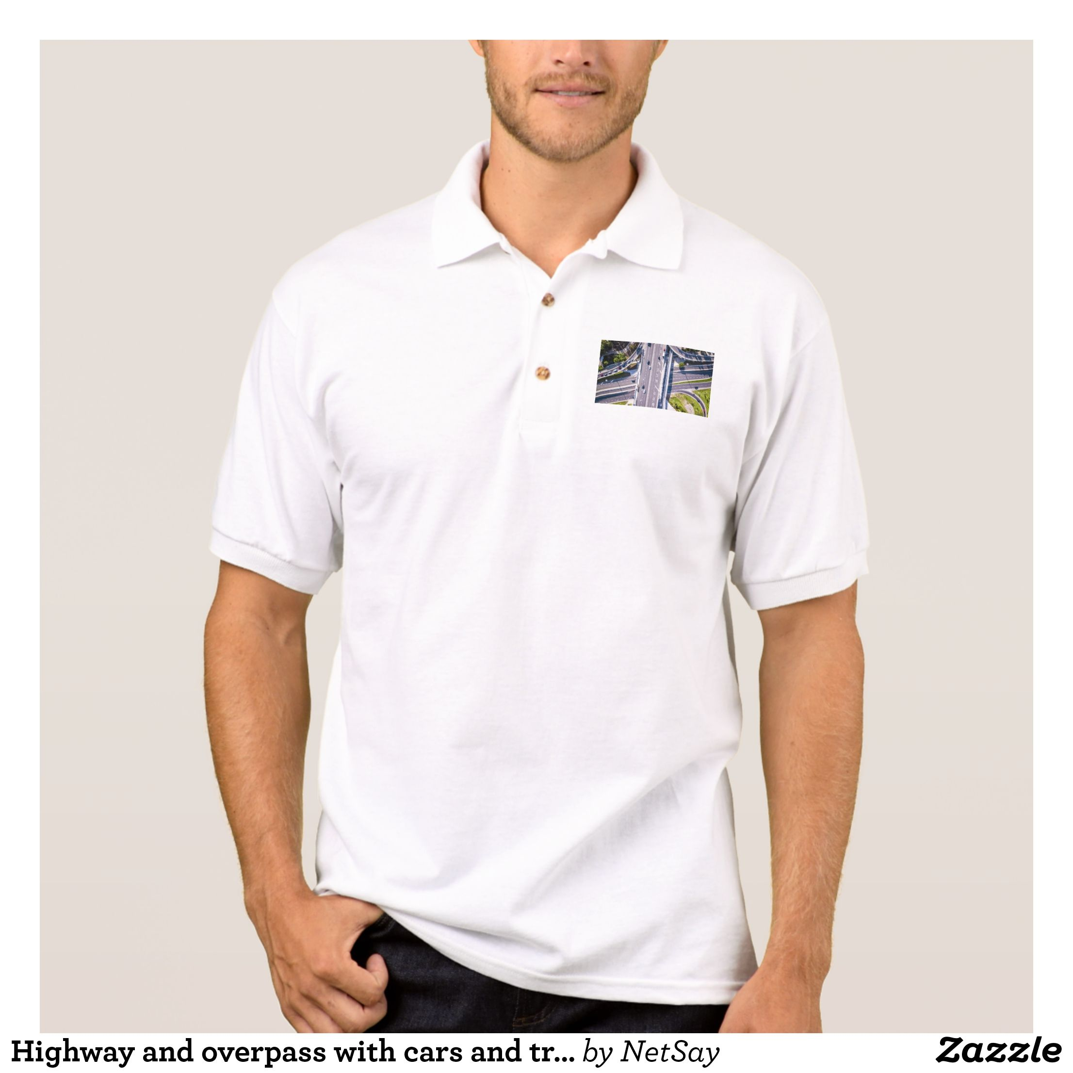 Highway And Overpass With Cars And Trucks Polo Shirt Zazzle Com Mens Polo Shirts Polo Shirt White Polo Shirt