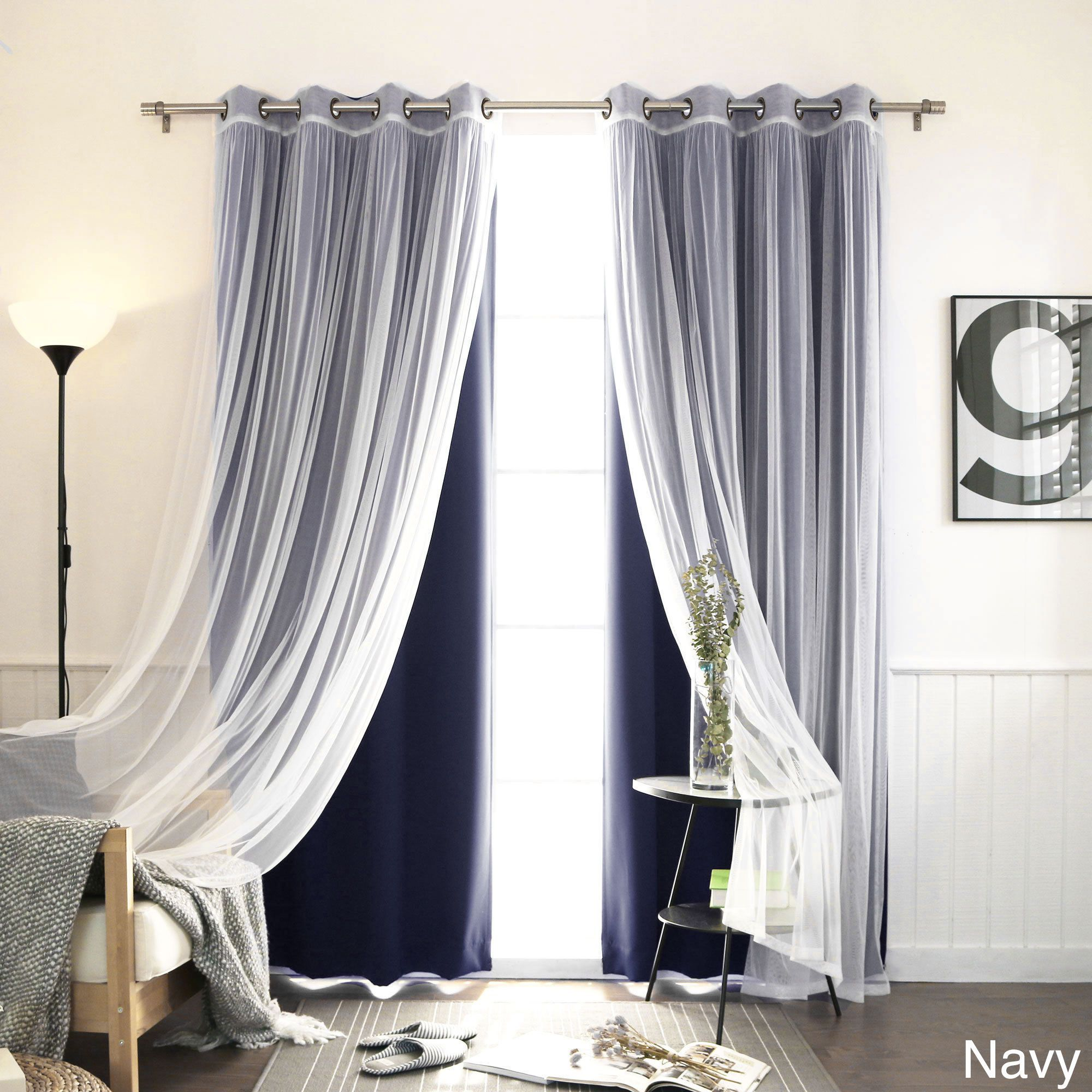 Lace Bedroom Curtains Aurora Home Mix Match Blackout With Tulle Lace Sheer 4 Piece