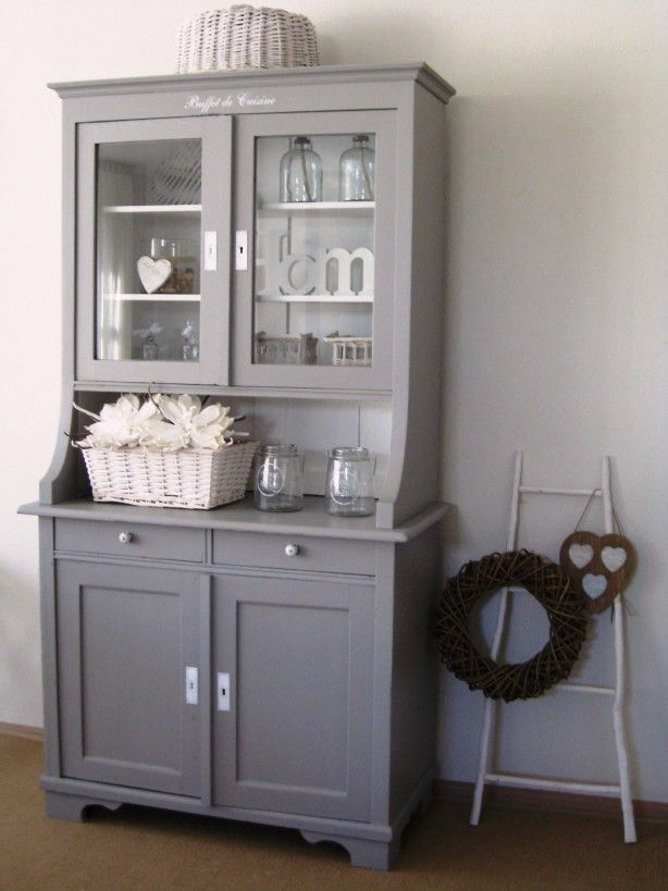 Brocante buffetkast in riviera grijs vitrine kast pinterest buffetkast grijs en brocante - Decoratie hoofdslaapkamer ...