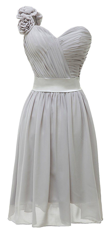 White cocktail dress for wedding  Angel Formal Dresses Womenus Chiffon Oneshoulder Short Cocktail