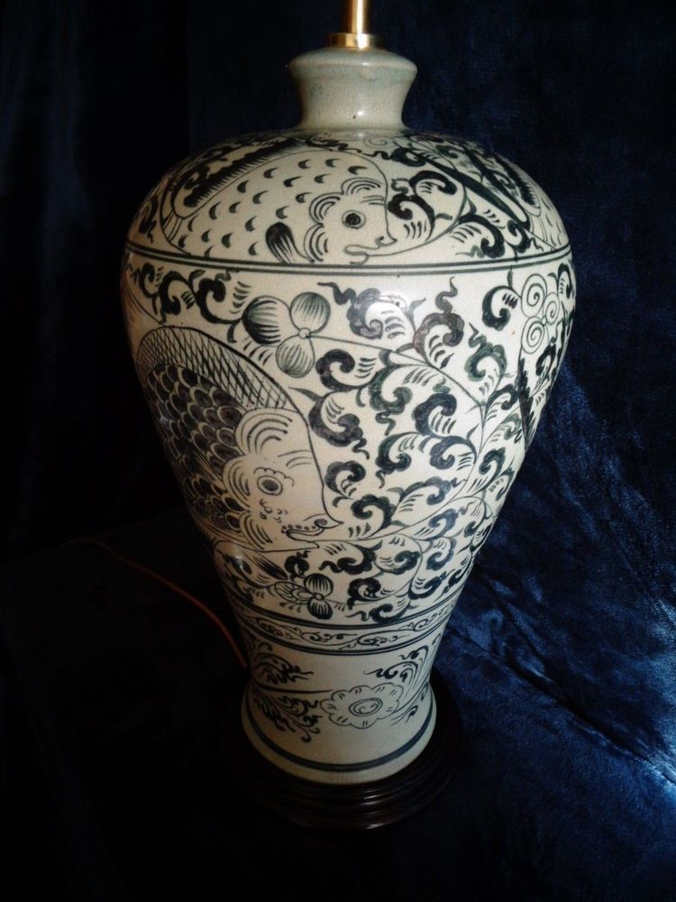 A Large Vintage Chinese Vase Lamp Fish Pinterest Diy Light And