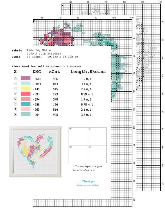 heart cross stitch pattern - Free shipping - Watercolour cross ...
