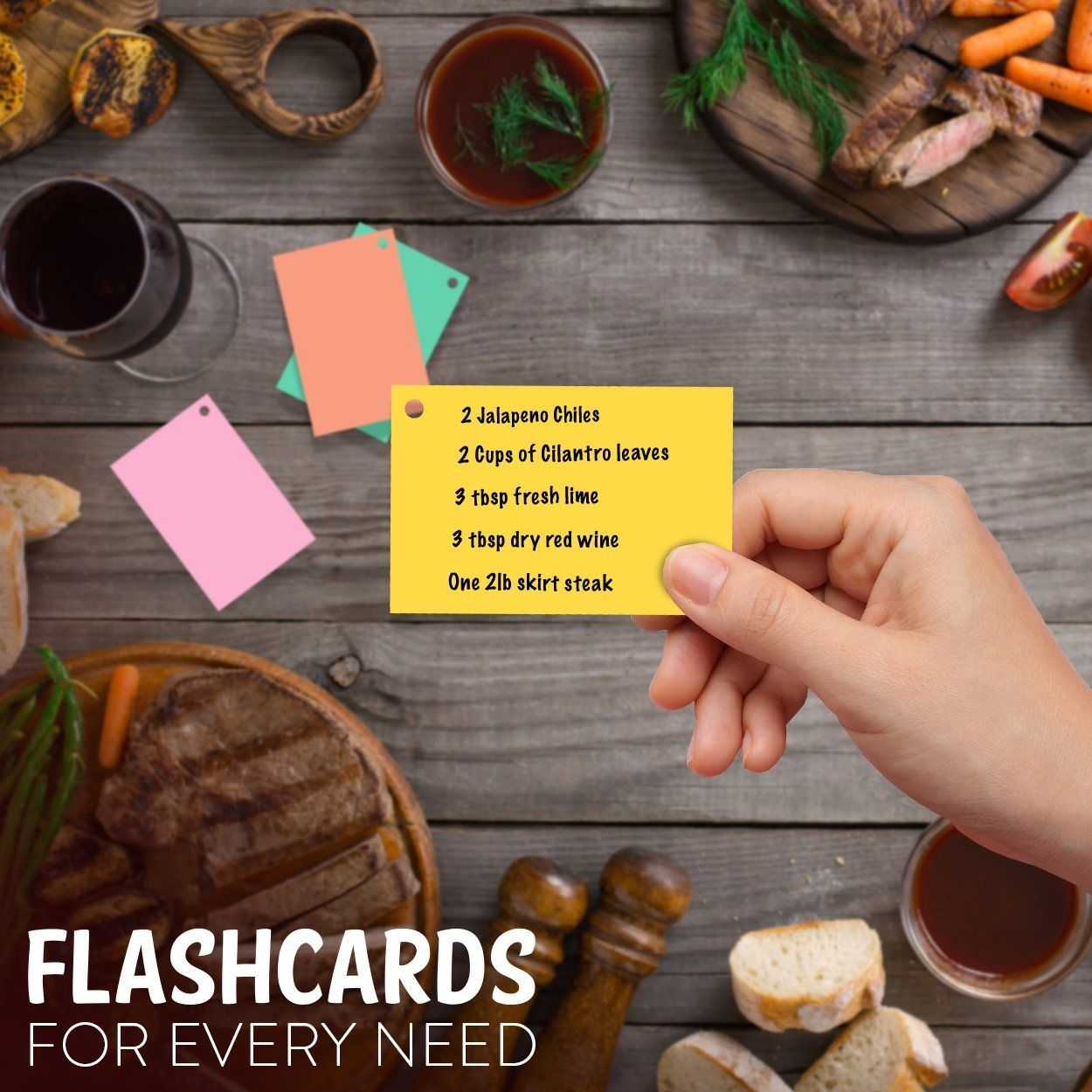 Star Right Blank Flash Cards with Rings in Assorted Colors