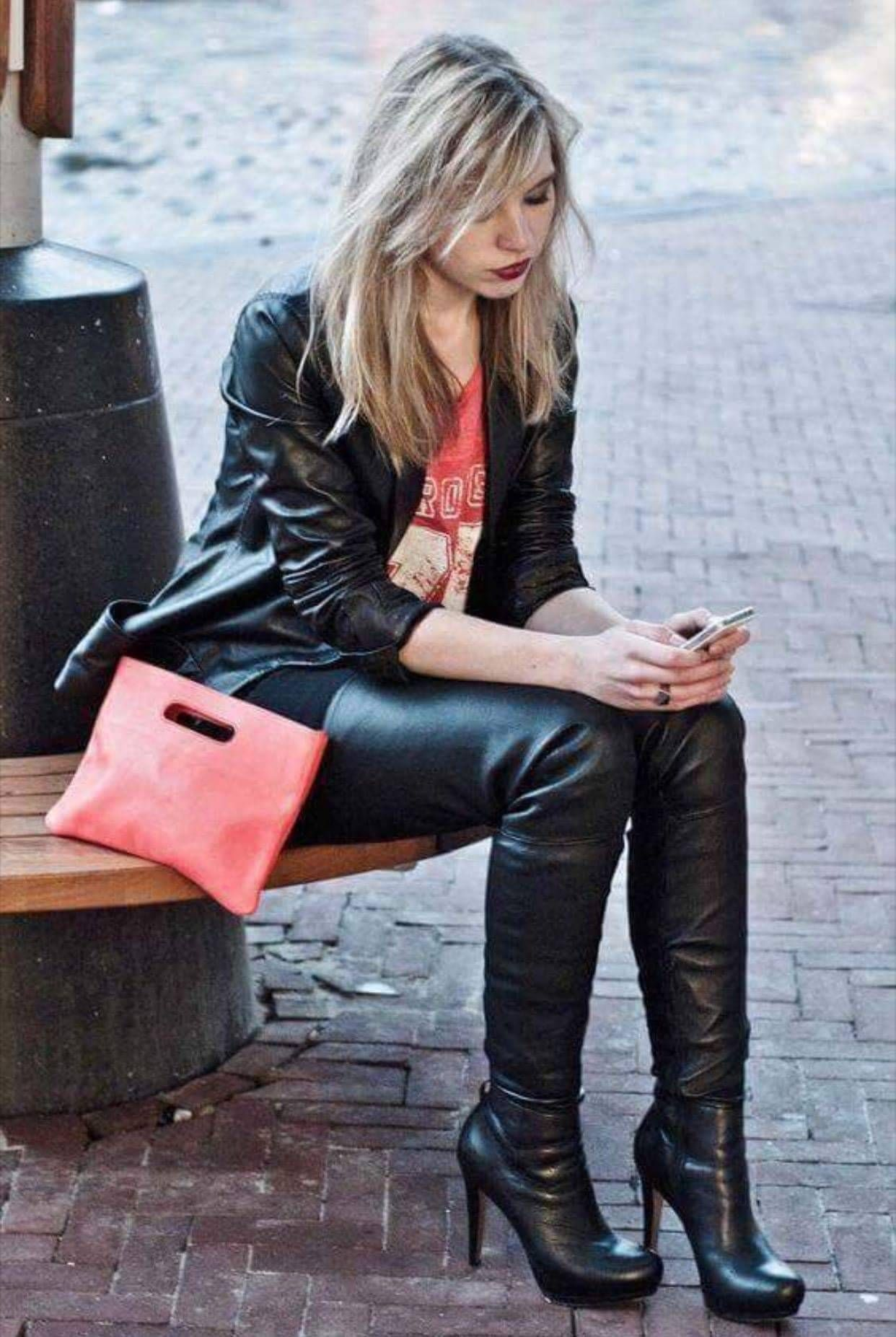 Candid Street Style Blonde Amateur In Black Leather Jacket And Thigh Boots