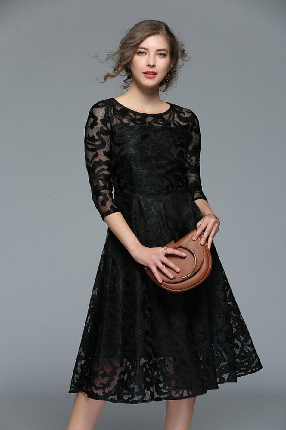 e8c74a819c89 Fixed Free Shipping  Ships within 12 to 20 days Material  Lace Silhouette   A-Line Pattern Type  Solid Sleeve Length(cm)  Three Quarter Dresses Length   ...