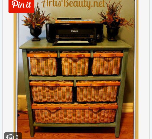Old Dresser With Wicker Baskets Instead Of Drawers