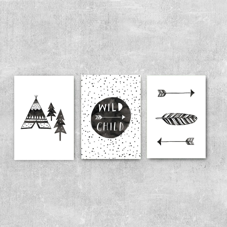 Wild Child Nursery Art Set Of Three Prints Boho Kids Room Modern Wall Monochrome Decor