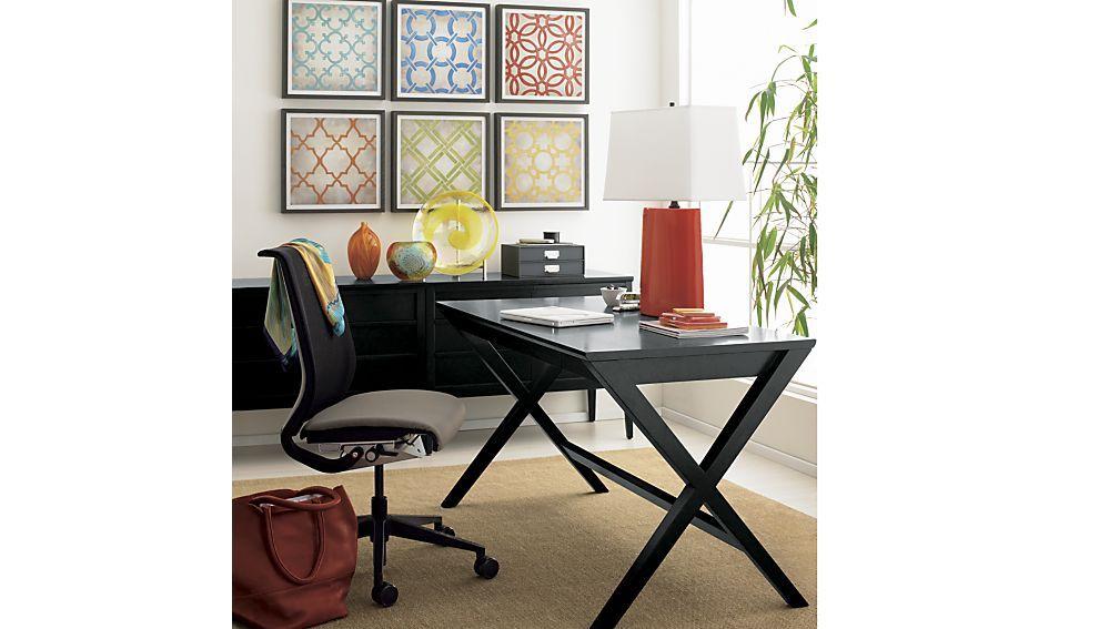 Spotlight Ebony X Leg Desk 58 Home Office Furniture Desk Crate