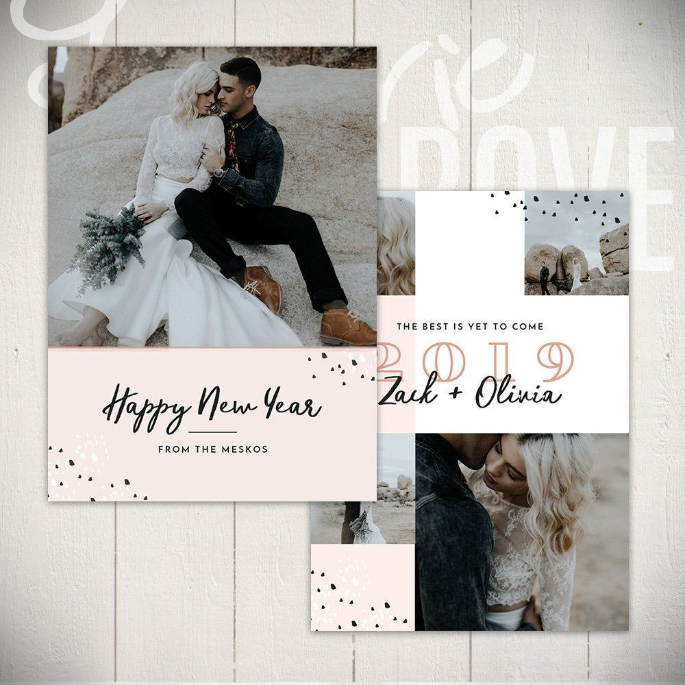 New Years Card Template Cheers B 5x7 New Year Card Template For Photographers New Year Card Card Template Holiday Card Template