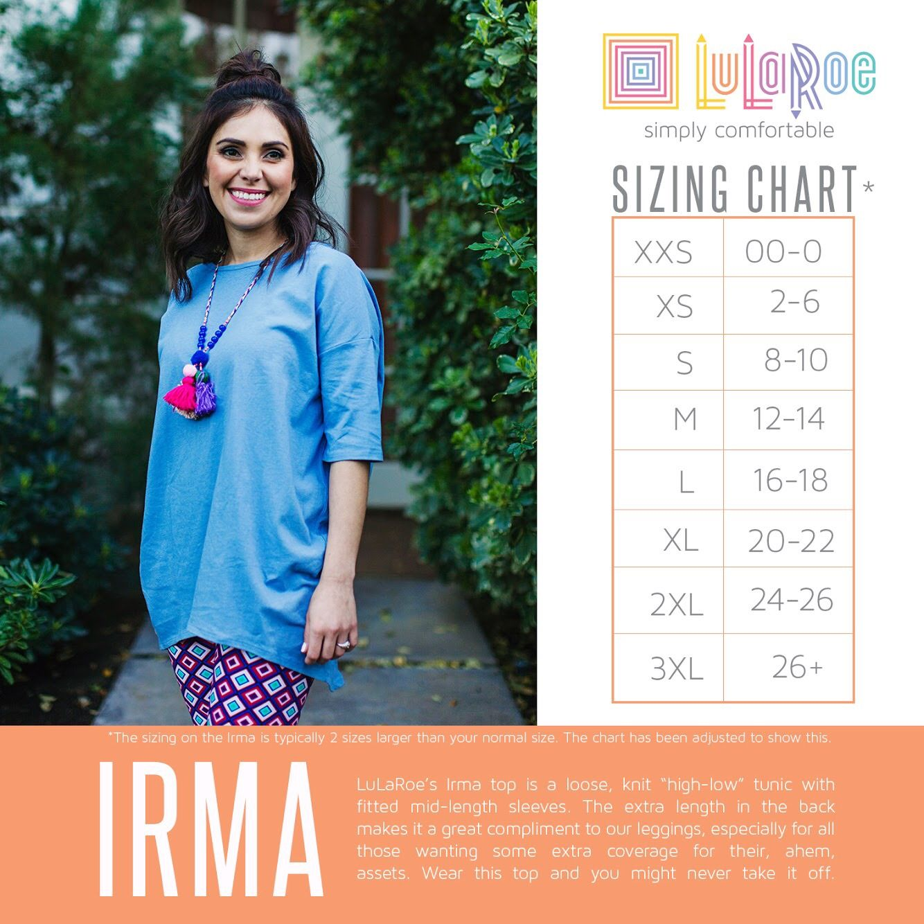 Lularoe Irma Tunic Top Size Chart See Our Cur Collection Here Www Facebook Groups Lularoegilberts