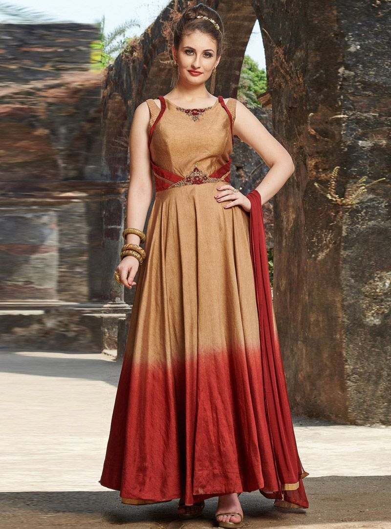 1295be5e7e8 Shop Golden Chanderi Silk Readymade Long Gown 150976 online at best price  from vast collection of designer kurti at Indianclothstore.com.
