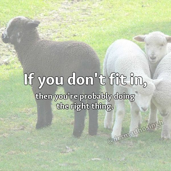 If you don't fit in, then you're probably doing the right thing. #embraceyouruniqueness