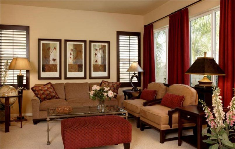 Living Room Glass Window Red Curtain Painting Light Brown Sofa