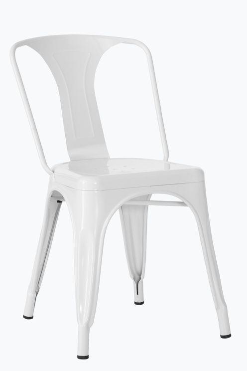 Maalatut metallituolit, joissa teollishenkinen look. Korkeus 77 cm. Leveys 43 cm. Istuinsyvyys 35 cm. Istuinkorkeus 45 cm. Selkänojan korkeus 36 cm. Toimitetaan koottuna. <br><br>