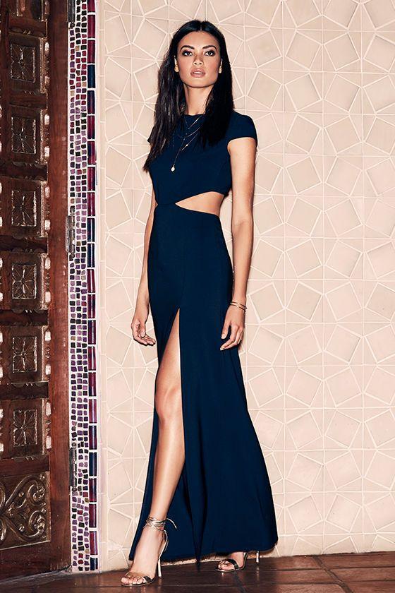 69117af152d Conversation Piece Navy Blue Backless Maxi Dress