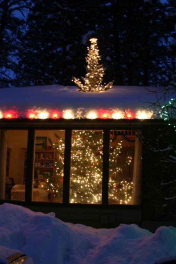 """Love this """"ginormous tree"""" idea (just put a small artificial tree on the roof in-line with your indoor tree.)"""