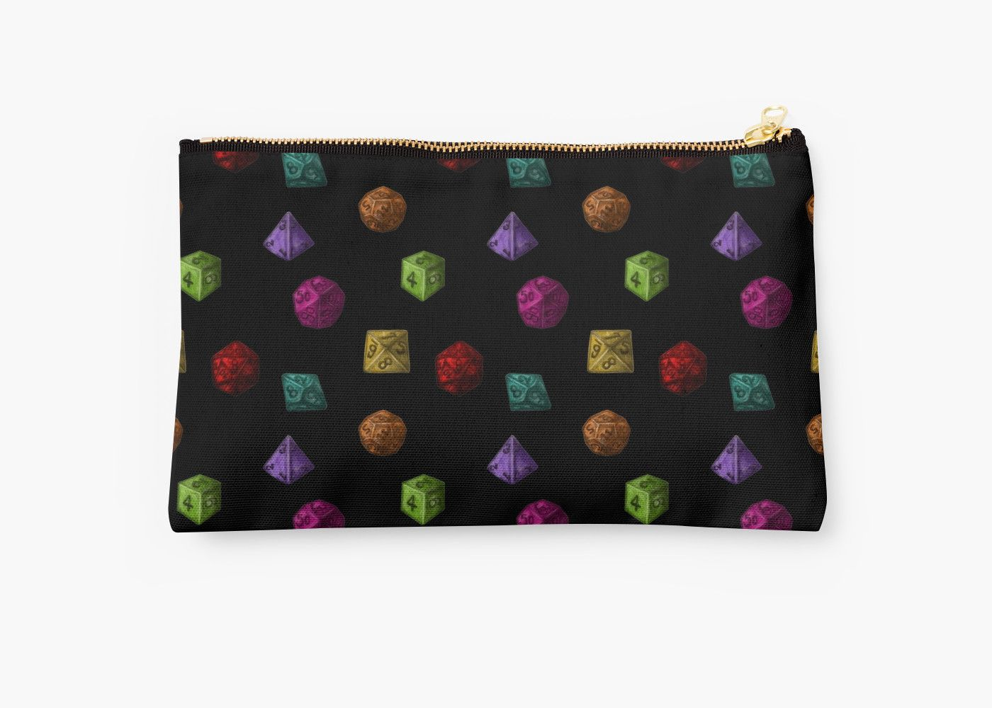 Colourful Polyhedron Dice on Studio Pouch by Imogen Smid, this would be great as a dice bag or gaming accessories bag!