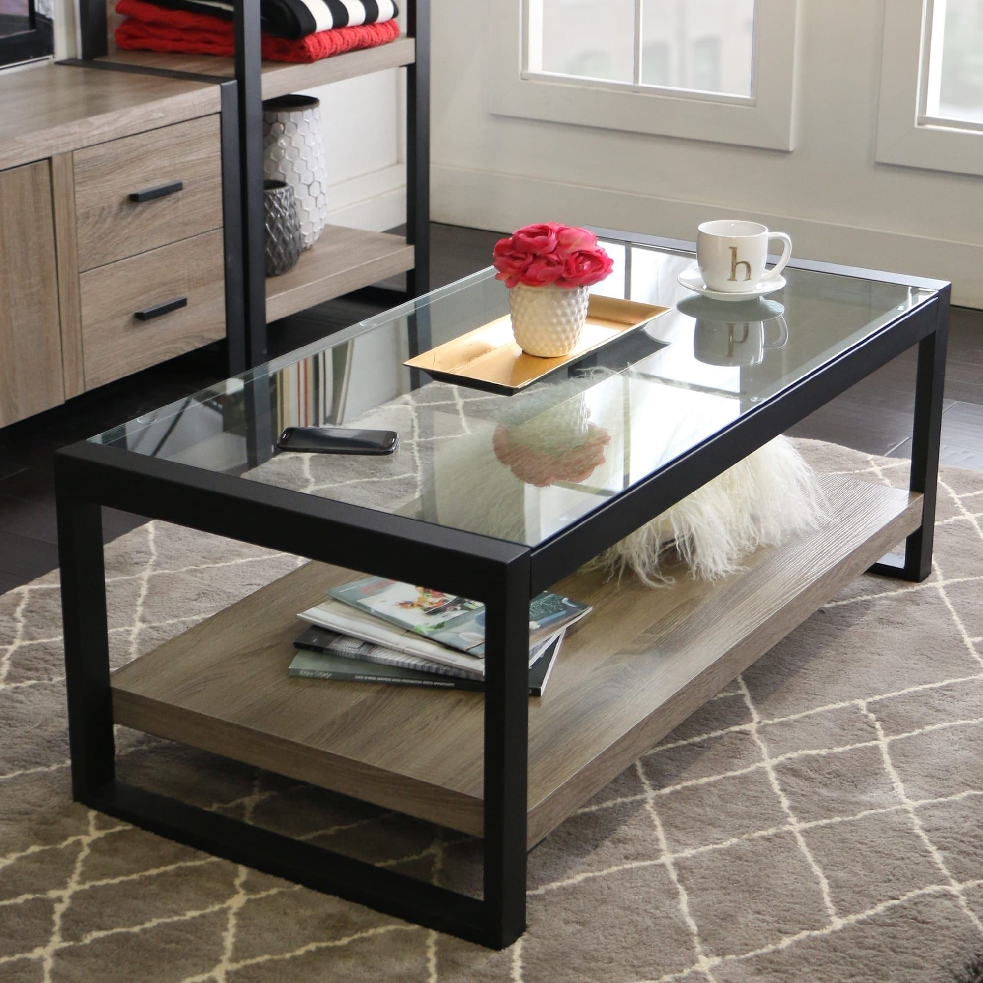 Marvelous 48 Urban Blend Coffee Table With Glass Top 48 X 24 X 18H Ncnpc Chair Design For Home Ncnpcorg