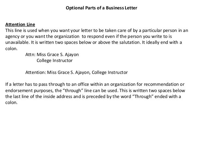 attention line in business letter