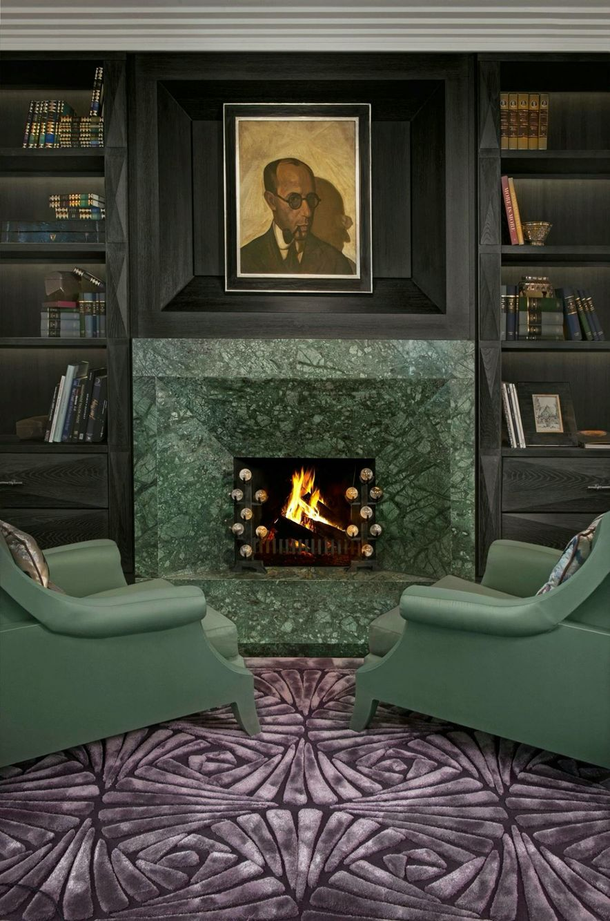 Wandkamin Im Esszimmer Kate Hume S Deco Library Love The Raised Hearth And Faceted