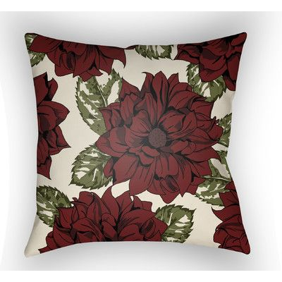"Surya Moody Floral Throw Pillow Color: Red, Size: 22"" H  x 22"" W x 5"" D"