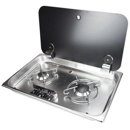 Rv Propane Stove >> Can Srl Fc1336e Premium 2 Burner Rv Propane Cooktop W Glass Lid