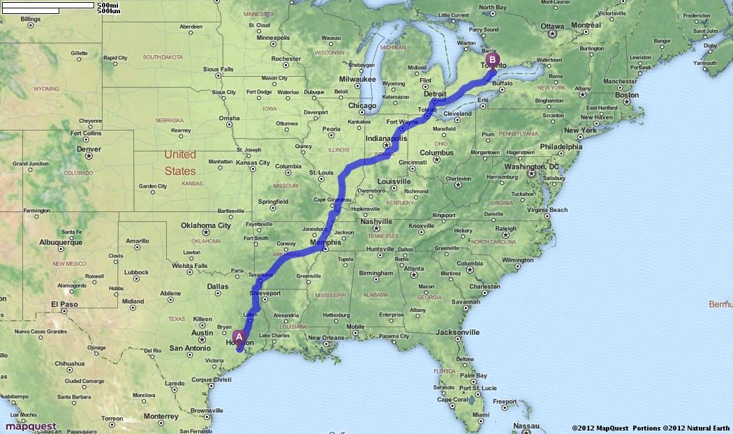 Driving Directions from Houston Texas to Toronto Canada