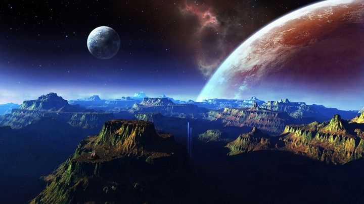 Fantastic Scenery Mountains Space Planet Wallpaper Space Space