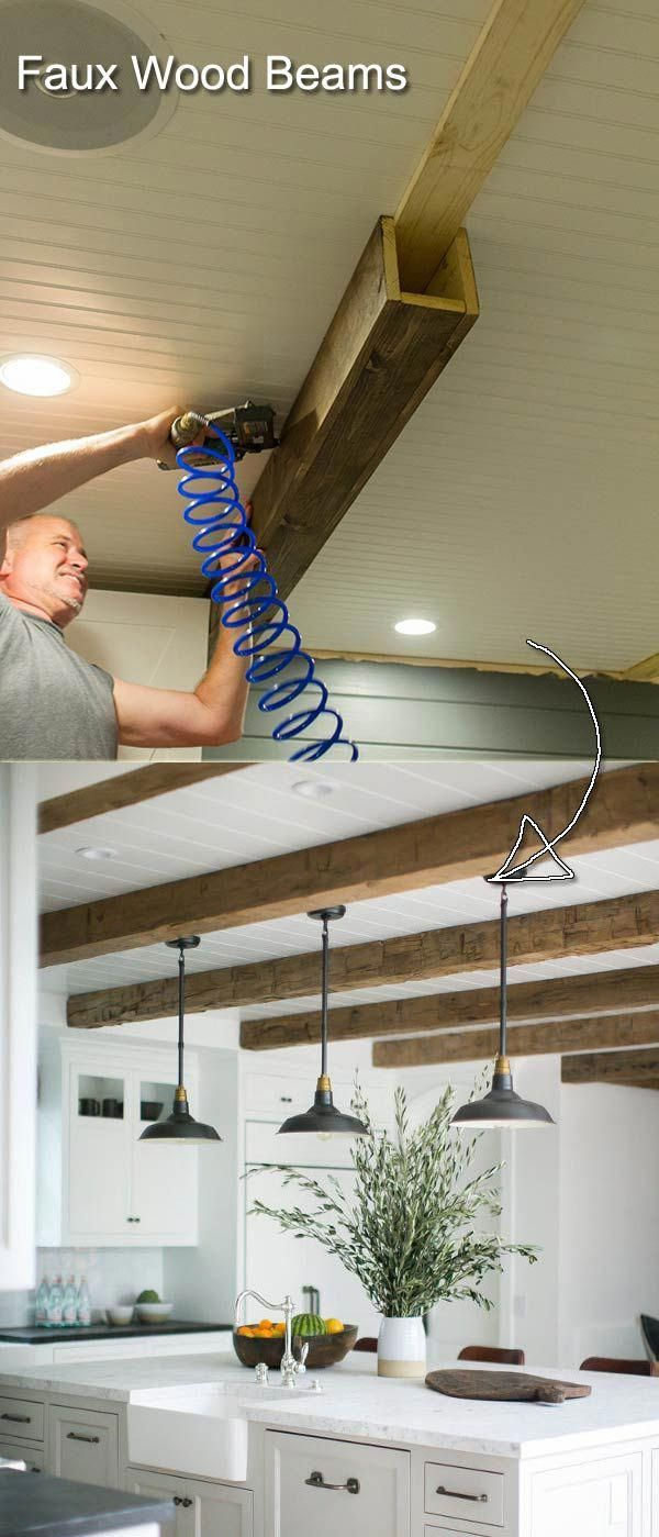 Photo of Decorate your kitchen ceiling with these clever imitation wood beams. #diyhomed …