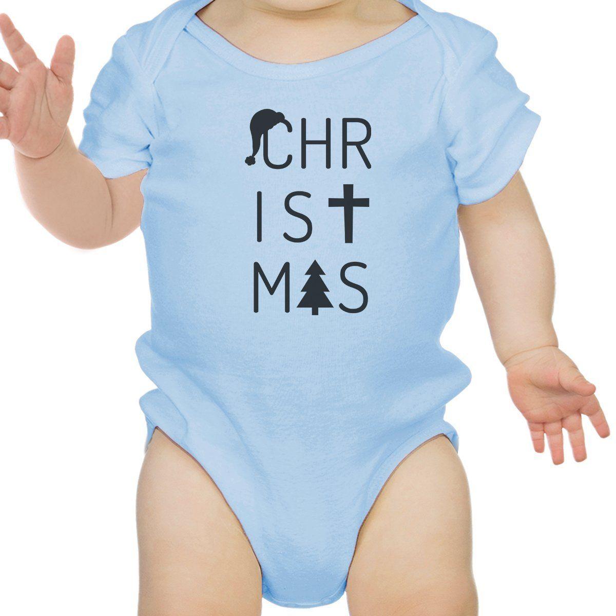 Christmas Letters Baby Sky Blue Bodysuit
