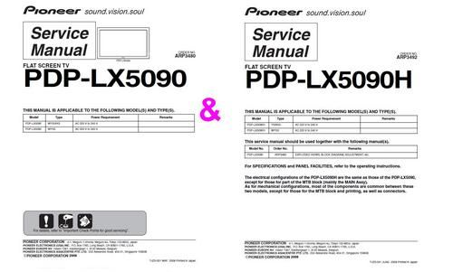 Pioneer PDP LX5090H and LX5090 , Original Service