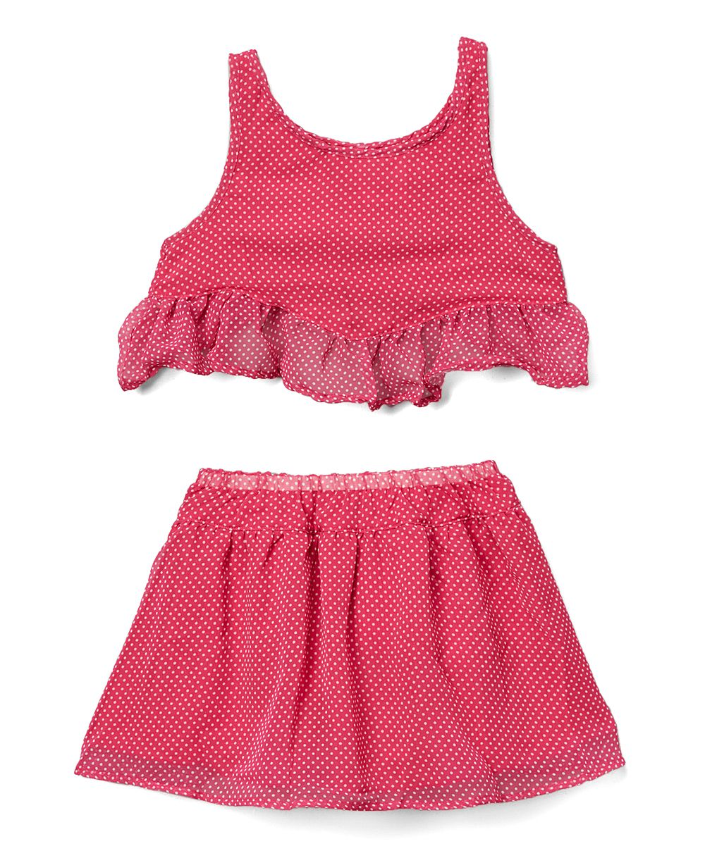 Pink Polka Dot Ruffle-Hem Tank & Skirt - Girls