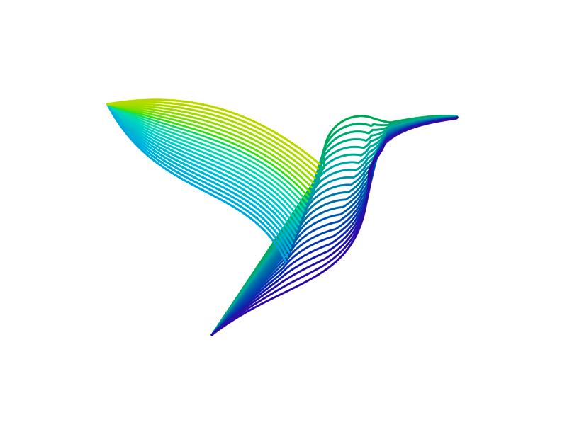 Colibri / hummingbird, colorful logo design symbol